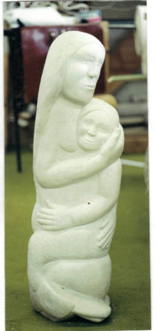 Paulassie Pootoogook (Inuit, 1927-2006), Mother and Child, marble, probably ca. 1970s