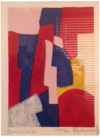 Serge Poliakoff (Russian, 1906-1969), Composition bleue, rouge et rose, 1961, lithograph in colors, signed