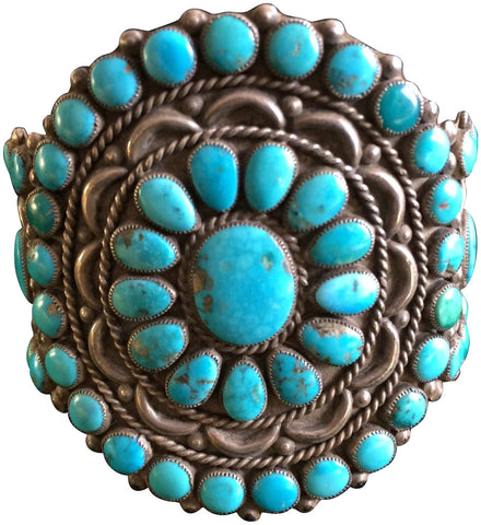 Zuni Turquoise and Silver Cluster Bracelet, ca. 1930-40s