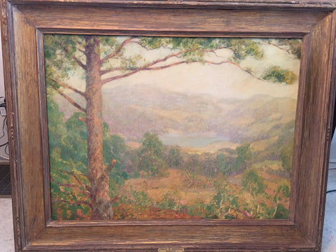 Lawrence Mazzanovich (American, 1871-1959), Valley of Deerfield, oil on board, signed