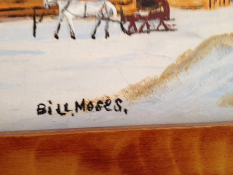 "Will (Bill) Moses (American, 20th/21st century), ""Fast Freights #6"", oil on masonite, signed"