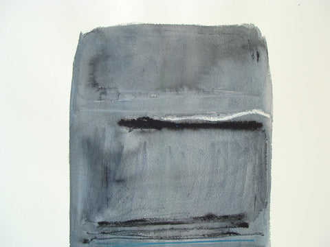 Larry Zox (American, 1936-2006), Untitled (Gray/Black), mixed media on paper, signed
