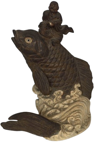 Japanese Terracotta Figural Group of Kinko and a Carp, Meiji (1868-1912) period