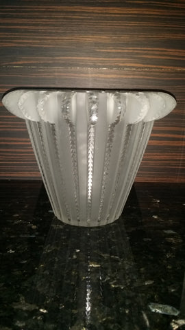 "Lalique ""Royat"" Frosted Clear Glass Vase, France, post-1945"