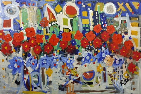"Ron Rice (American, 1953-2009), ""Wildflowers in the City"", acrylic on canvas, signed"