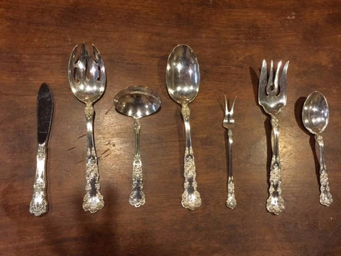 American Silver Flatware Service, Gorham Mfg. Co., in the Buttercup pattern, early 20th century, pattern introduced in 1899