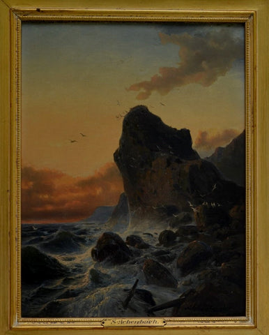 Andreas Achenbach (German, 1815-1910), California Coast, oil on canvas, signed