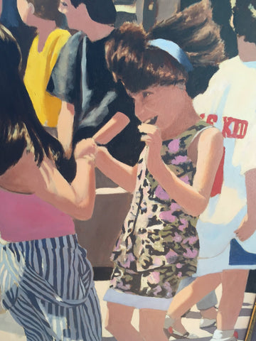 Duncan E. Slade (American, 1918-2013), Dancing in the Street, 1991, oil on canvas, signed
