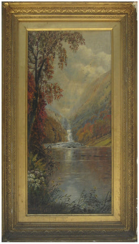Edmund Darch Lewis (American, 1835-1910), Autumn Tree and Waterfall, 1879, oil on canvas, signed and dated