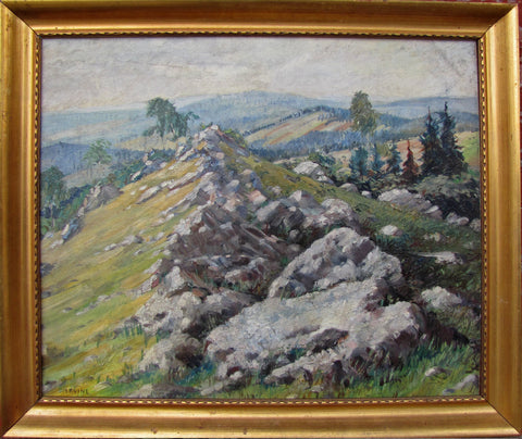 "Wilson Henry Irvine (American, 1869-1936), ""Knife's Edge"", oil on board, signed"
