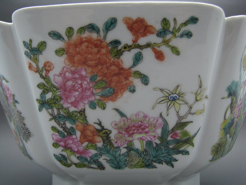 Chinese Famille Rose Enameled Porcelain Hexagonal Footed Bowl, ca. 1900