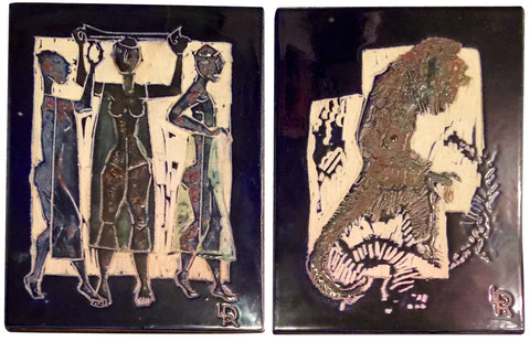 Leopoldo Richter (German/Columbian, 1896-1984), Untitled (Sloth) and Untitled (Three Women), two enamel on ceramic tiles, ca. mid-20th century