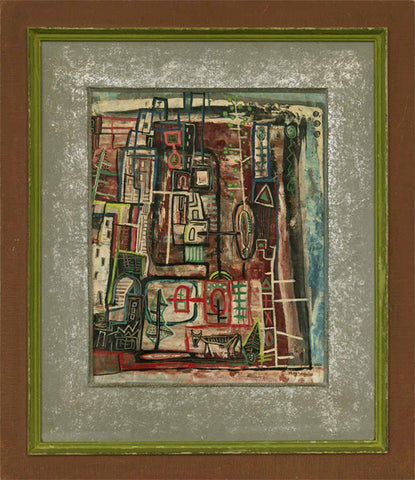 "Howard Schleeter (American, 1903-1976), ""Untitled (Pueblo)"", 1949, mixed media on paper, signed and dated"