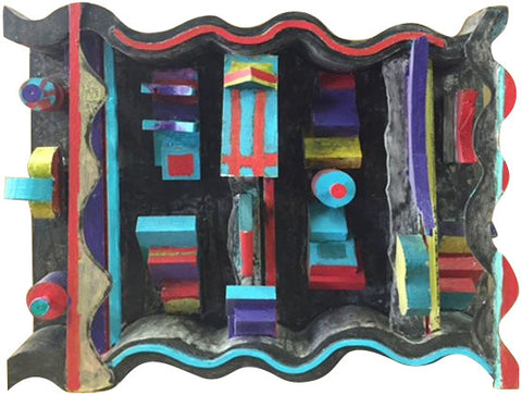 Florence Putterman (American, b. 1927), Deep Curves Ahead II, mixed media assemblage, signed