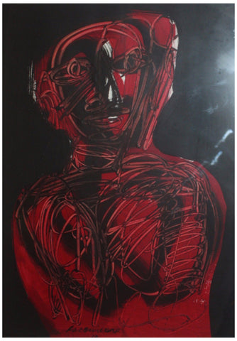 Guillermo Ceniceros (Mexican, b. 1939), Figure in Red, 1972, acrylic and ink on paper, signed