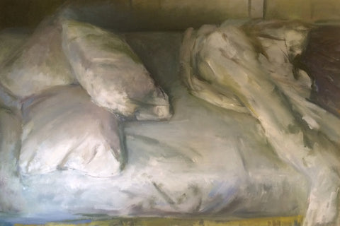 "Marc Whitney (American, b. 1955), ""Side View Unmade Bed with Pillows"", oil on canvas, signed"