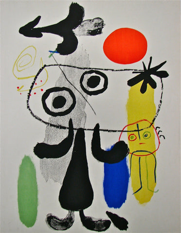 "Joan Miró (Spanish, 1893-1983), ""Personnage au Soleil Rouge, II"", 1950, lithograph in colors, trial proof"