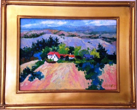 "Pamela Glover (American, 1924-2010), ""View from Donald Drive, Orinda"", oil on canvas, signed"