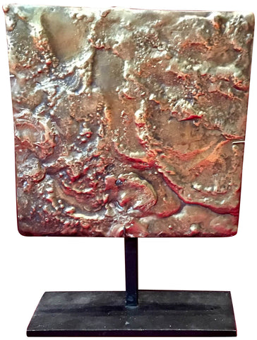Harry Bertoia (Italian, 1915-1978), Untitled (Sculptural tile), patinated and enameled bronze, unsigned