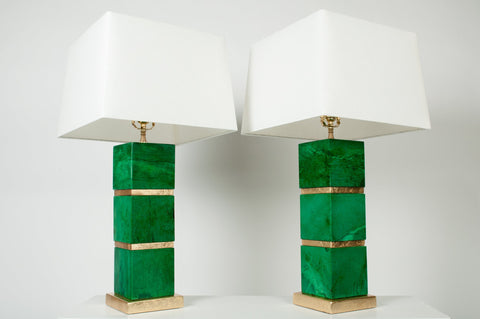 Pair of French Modern Green Stone and Giltwood Lamps, ca. 1950s
