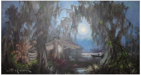 "Colette Pope Heldner (American, 1902-1990), ""Swamp Idyll (Louisiana Bayou Country)"", oil on canvas, signed"