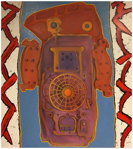 "Stan (Stanley Dean) Edwards (American, born 1941), ""Guardian III"", 1994, oil and acrylic on canvas, together with preparatory maquette, signed"