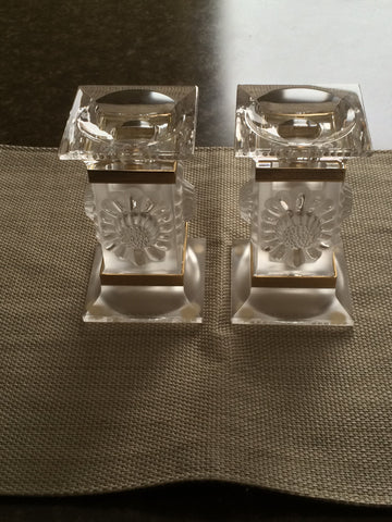 "Pair of French Frosted Glass Candlesticks, in the ""Paquerettes"" pattern, manufactured by Lalique, ca. late 20th century"