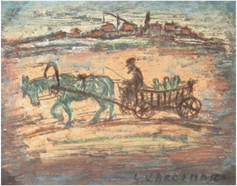 Simon Karczmar (Polish, 1903-1982), Untitled - Man with Horse Cart, ca. 1950, gouache on paper