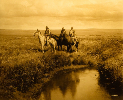 "Edward S. Curtis (American, 1868-1952), ""The Three Chiefs "", taken 1900, printed 2008, contemporary goldtone/orotone"