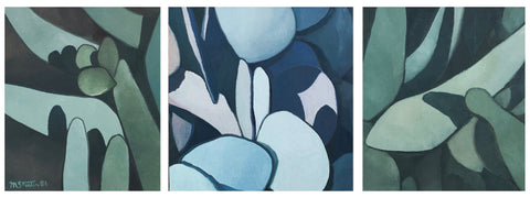 Muriel Streeter (American, 1913-1995), Prickly Pear Triptych,  ca. 1986, acrylic on canvas, signed