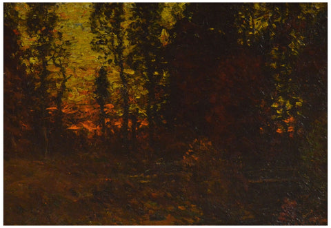 "John Joseph Enneking (American, 1841-1916), ""Sunset Glory"", oil on board, signed"