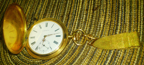Mens 14k Yellow Gold Hunting Case Pocket Watch, La Rochette, made by Zeligson Freres and J.Grevere, La Chaux de Fonds, Switzerland, made for Russian export, ca. 1920-1924