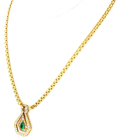 18K Yellow Gold, Emerald, and Diamond Necklace, Van Cleef and Arpels