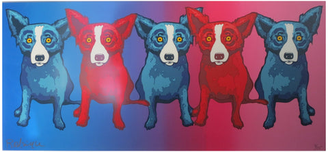 "George Rodrigue (American, 1944-2013), ""She Loves Me, She Loves Me Not,"" 2001, screenprint in colors, signed, ed. 175"