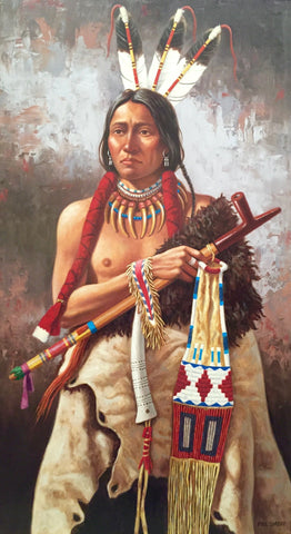 "Paul Surber (American, b. 1942), ""Sioux Brave"", oil on canvas, signed"