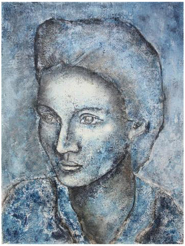 "Sax Berlin (British, b. 1953), ""Portrait In Blue"", 1997, gouache, signed"