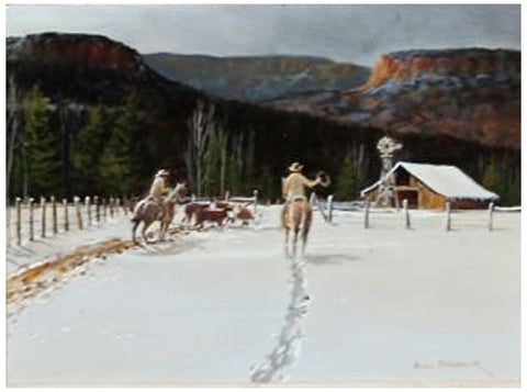Bill Shaddix (American, b. 1931), Chilly Chores, oil on board, signed