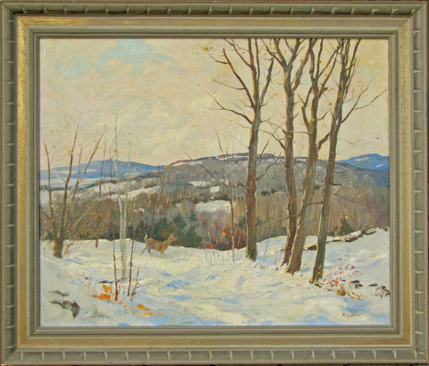 "Frank Gervasi (American, 1895-1986), ""Catskills in Winter"", oil on canvas, signed"