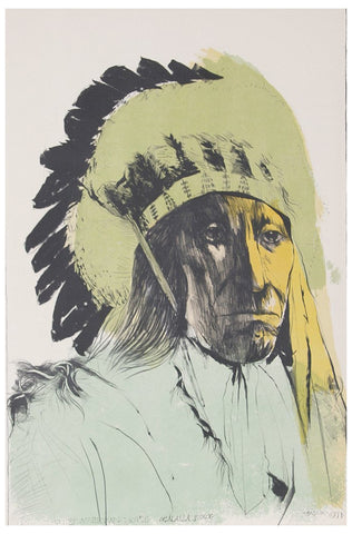 Leonard Baskin (American, 1922-2000), Chief American Horse, 1973, lithograph in colors, ed. 100