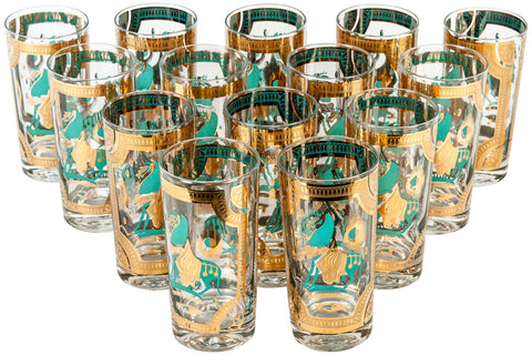 Set of Fourteen Mid-Century Modern Turquoise and Gilt Highball Glasses, ca. 1960s
