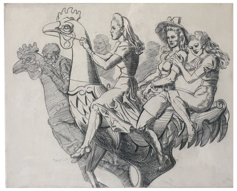 "Reginald Marsh (American, 1898-1954), ""Three Girls on a Chicken"", 1941, engraving, signed"