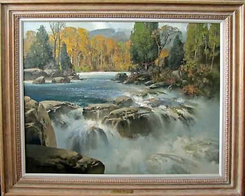 "Tom Nicholas (American, b. 1934), ""Sunlit Falls"", oil on linen, signed"