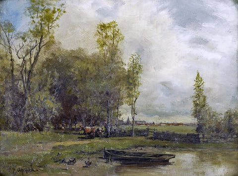 Charles Appel (American, 1857-1928), Country Pond, oil on canvas, signed