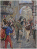 Karel Stroff (Czech, 1881-1929), Street Musicians in Prague, gouache on paper, signed