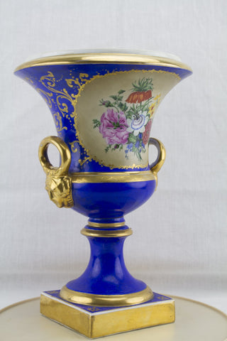 Pair of Sevres Style Bolted Porcelain Urns, probably Continental, 20th century