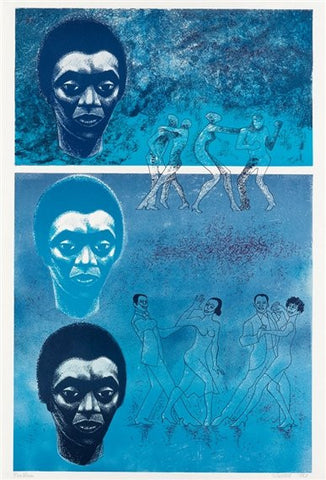 "Elizabeth Catlett (American, 1915-2012), ""Blues"", 1983, color lithograph, signed, ed. 130"