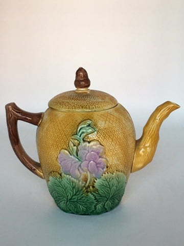 English Glazed Earthenware Teapot and Cover, 19th century
