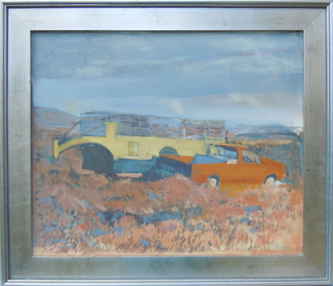 "Steve Smith (American), ""Truck and Trailer (Dillon, MT)"", 2008, oil on panel"