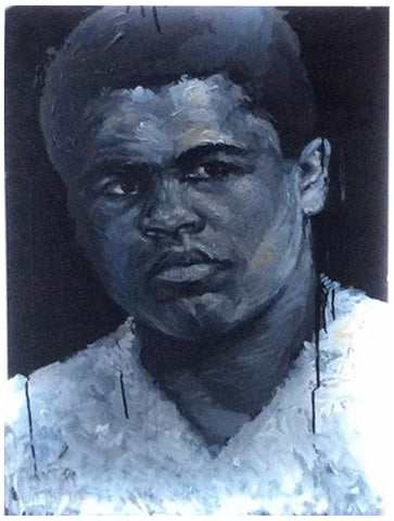 Patrick Martinez (American, b. 1980), Muhammad Ali, mixed media on plexiglass with neon