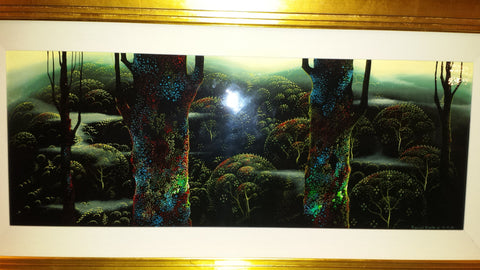 "Eyvind Earle (American, 1916-2000), ""Early Morning Forest"", 1999, oil on board, signed and dated"